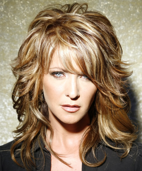 Long Wavy    Caramel Brunette   Hairstyle with Side Swept Bangs  and Light Blonde Highlights