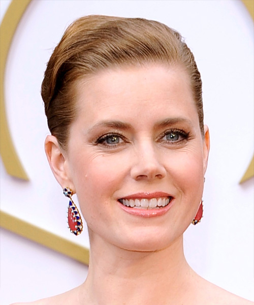Amy Adams  Long Straight Formal   Updo Hairstyle   - Dark Strawberry Blonde Hair Color