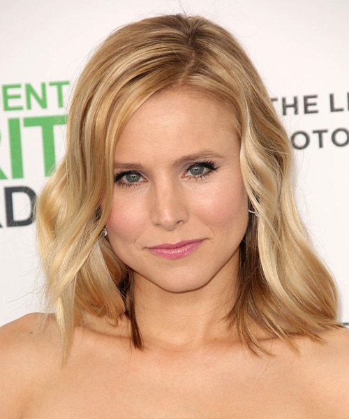 Kristen Bell Medium Straight    Golden Blonde   Hairstyle   with Light Blonde Highlights