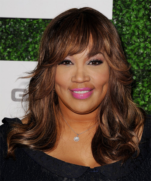Kym Whitley Long Straight Formal   Hairstyle with Layered Bangs  - Medium Brunette (Auburn)
