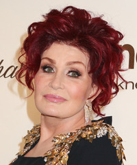 Sharon Osbourne  Medium Curly Formal   Updo Hairstyle   -  Red Hair Color
