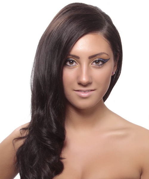 Long Wavy Dark Brunette Hairstyle that suits a thin face shape