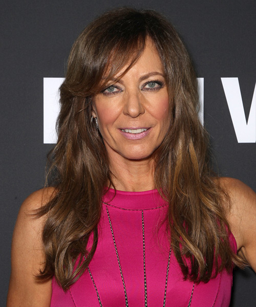 Allison Janney Long Straight Casual    Hairstyle with Side Swept Bangs  -  Brunette Hair Color