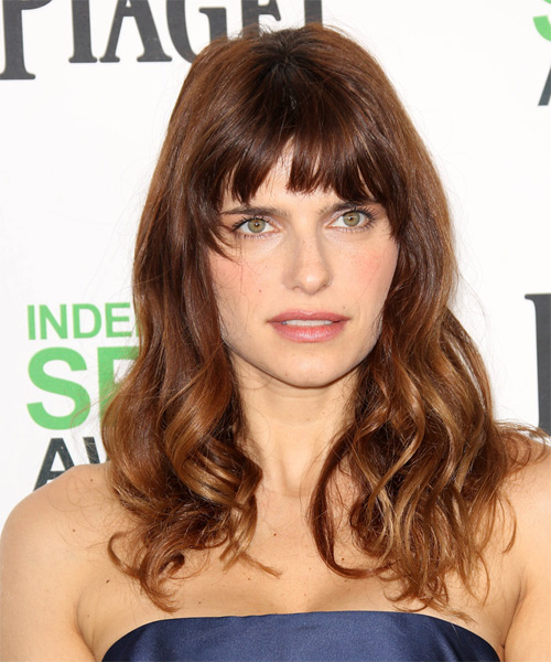 Lake Bell Long Wavy Casual    Hairstyle with Layered Bangs  -  Auburn Brunette Hair Color