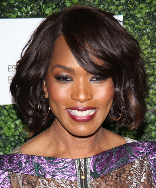 Angela Bassett Medium Straight Casual    Hairstyle with Side Swept Bangs  - Dark Brunette Hair Color