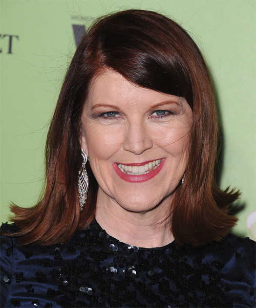 Kate Flannery Medium Straight Formal    Hairstyle with Side Swept Bangs  -  Auburn Brunette Hair Color
