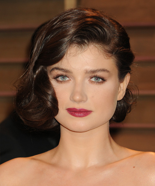 Eve Hewson Formal Medium Curly Updo Hairstyle Dark Mocha