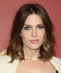 Mandy Moore Medium Wavy Casual    Hairstyle   -  Chocolate Brunette Hair Color