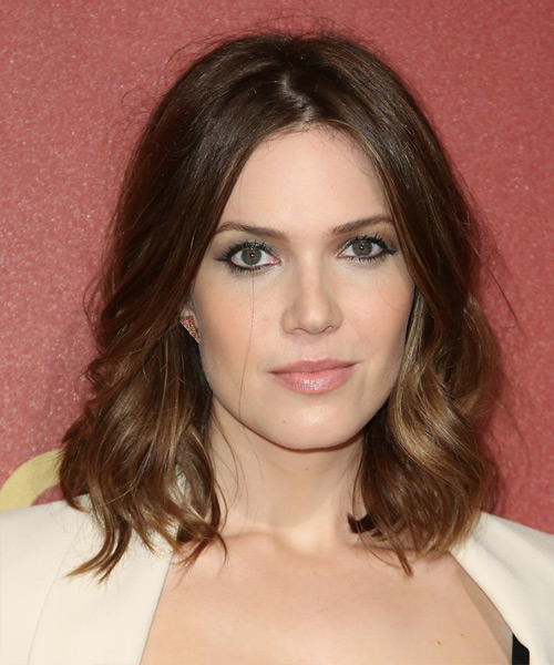 Mandy Moore Medium Wavy Casual   Hairstyle   - Medium Brunette (Chocolate)