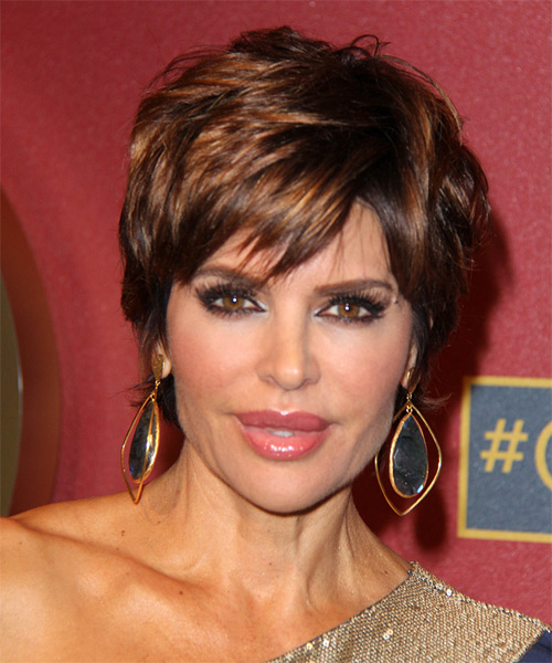 Lisa Rinna Short Straight   Dark Mocha Brunette   Hairstyle with Side Swept Bangs  and Dark Blonde Highlights