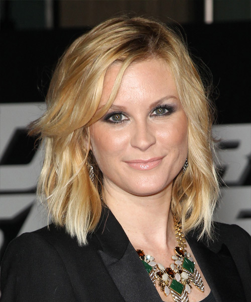 Bonnie Somerville Medium Wavy Casual    Hairstyle   -  Golden Blonde Hair Color with Light Blonde Highlights
