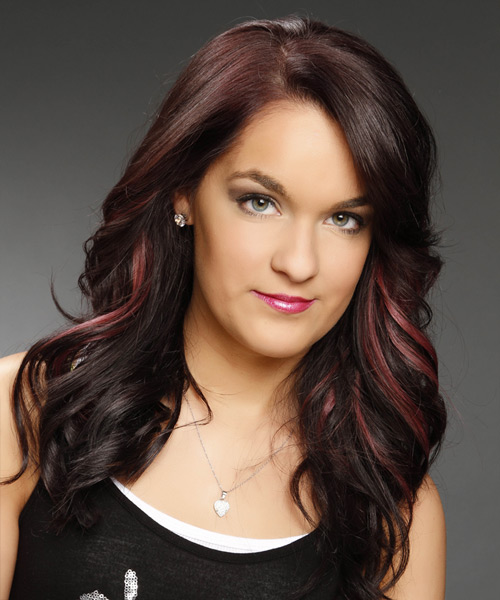 Long Wavy   Dark Plum Red   Hairstyle   with Pink Highlights