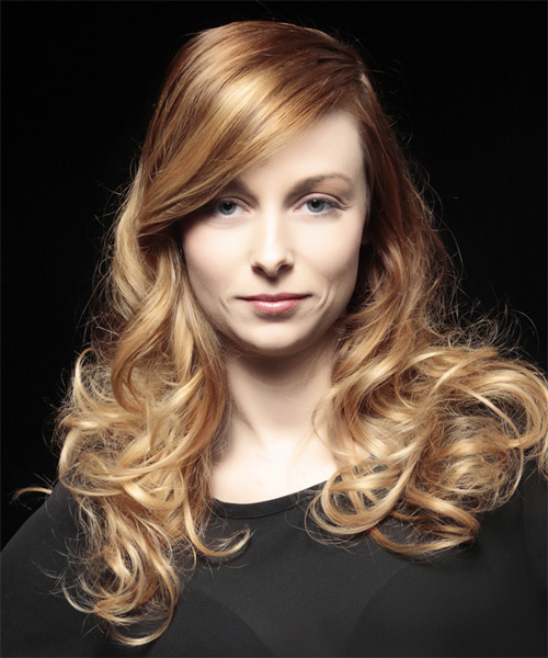 Long Wavy   Light Caramel Brunette and Light Blonde Two-Tone   Hairstyle
