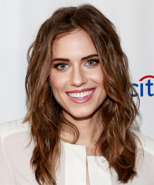 Allison Williams Long Wavy Casual    Hairstyle   -  Auburn Brunette Hair Color