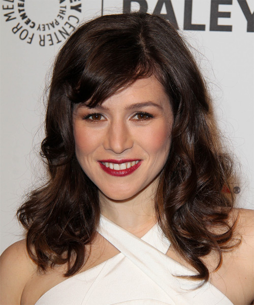 Yael Stone Long Wavy Casual   Hairstyle with Side Swept Bangs  - Dark Brunette (Mocha)
