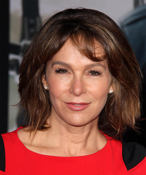 Jennifer Grey Medium Straight    Brunette   Hairstyle with Layered Bangs