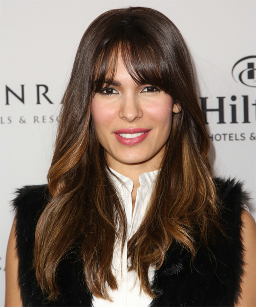 Nadine Velazquez Long Straight Casual   Hairstyle with Layered Bangs  - Medium Brunette (Chocolate)