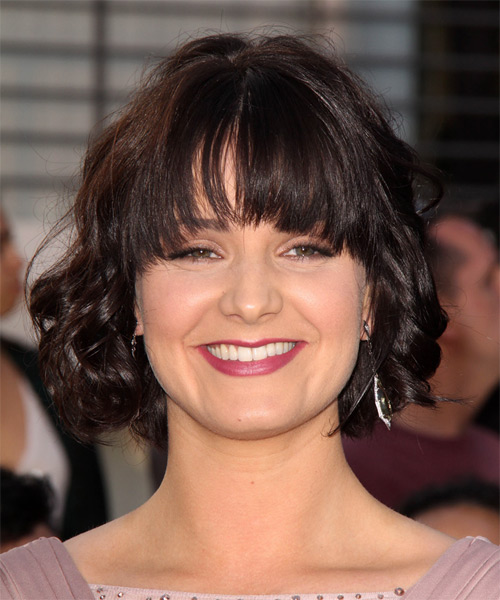 Amy Newbold Medium Curly Casual Bob  Hairstyle with Blunt Cut Bangs  - Dark Brunette (Mocha)