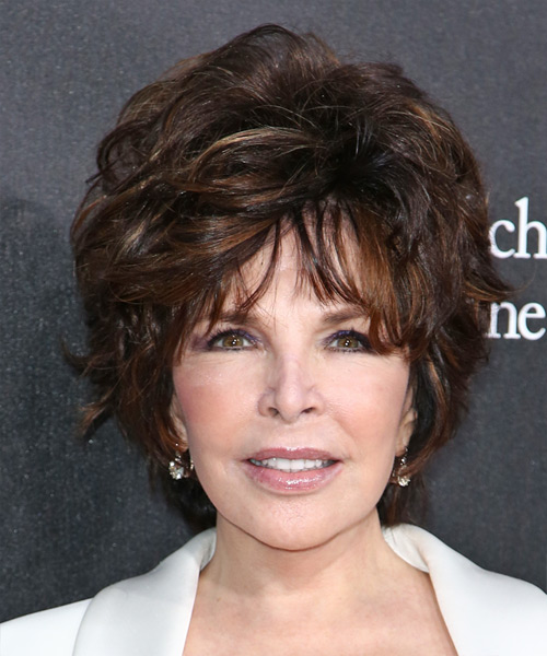 Carole Bayer Sager Short Straight Formal    Hairstyle with Layered Bangs  - Dark Mocha Brunette Hair Color