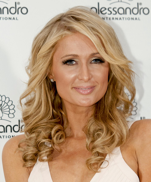 Paris Hilton Long Curly    Blonde   Hairstyle   with Light Blonde Highlights