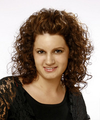Medium Curly Casual    Hairstyle   -  Chocolate Brunette Hair Color