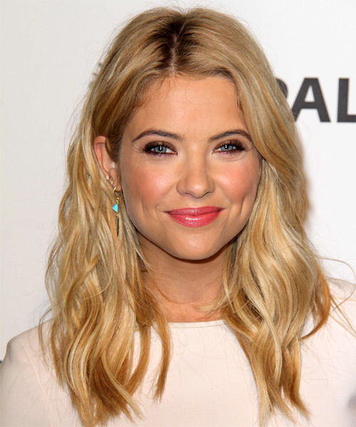 Ashley Benson Long Wavy Casual    Hairstyle   -  Blonde Hair Color with Light Blonde Highlights