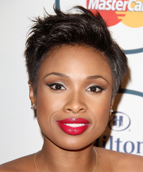 Jennifer Hudson Short Straight Casual    Hairstyle   - Dark Brunette Hair Color