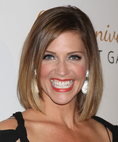Tricia Helfer Medium Straight Casual    Hairstyle   -  Caramel Brunette Hair Color