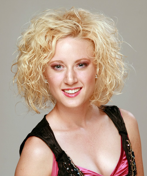 Medium Curly Casual    Hairstyle   - Light Golden Blonde Hair Color
