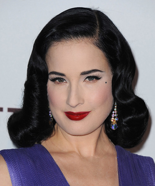 Dita Von Teese Medium Wavy Formal Wedding  Hairstyle   - Black