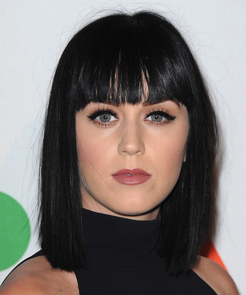 Katy Perry Medium Straight Pageboy Bob Hairstyle with Blunt Cut Bangs