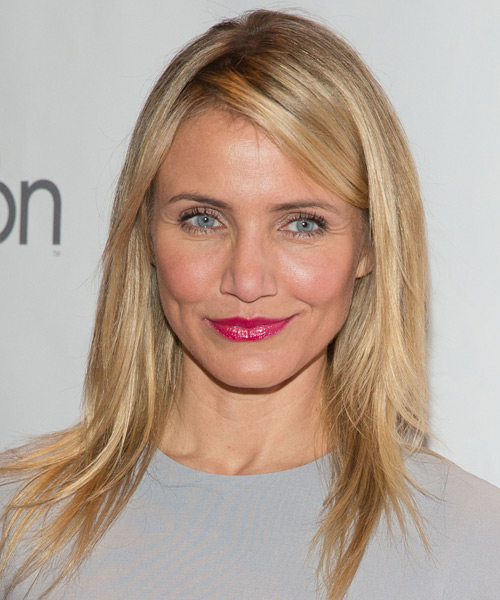 Cameron Diaz Long Straight Casual    Hairstyle   -  Strawberry Blonde Hair Color with Light Blonde Highlights