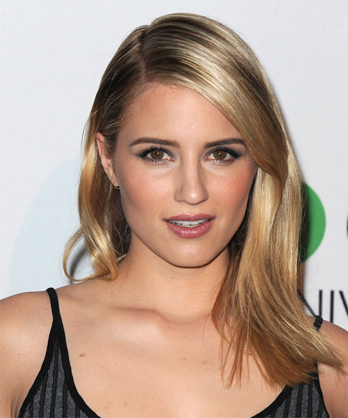 Dianna Agron Long Straight Formal   Hairstyle   - Dark Blonde