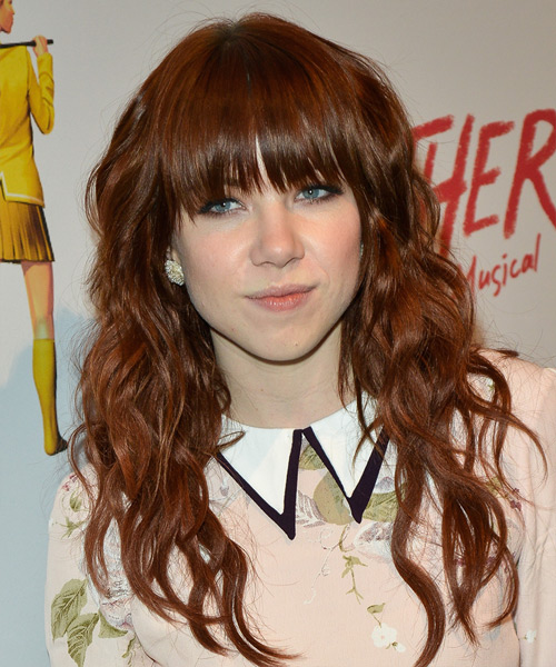 Carly Rae Jepsen Long Wavy Casual   Hairstyle with Layered Bangs  - Medium Red (Auburn)
