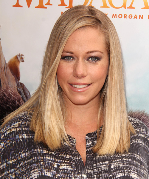 Kendra Wilkinson Long Straight Formal Hairstyle   Honey Blonde Hair Color  With Light Blonde Highlights