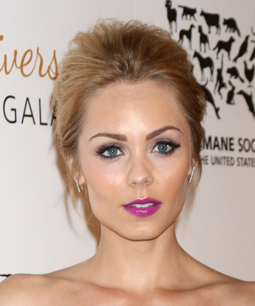 Laura Vandervoort  Long Straight Formal   Updo Hairstyle   - Dark Blonde Hair Color