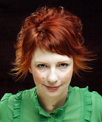Short Curly Casual    Hairstyle with Side Swept Bangs  -  Ginger Red Hair Color
