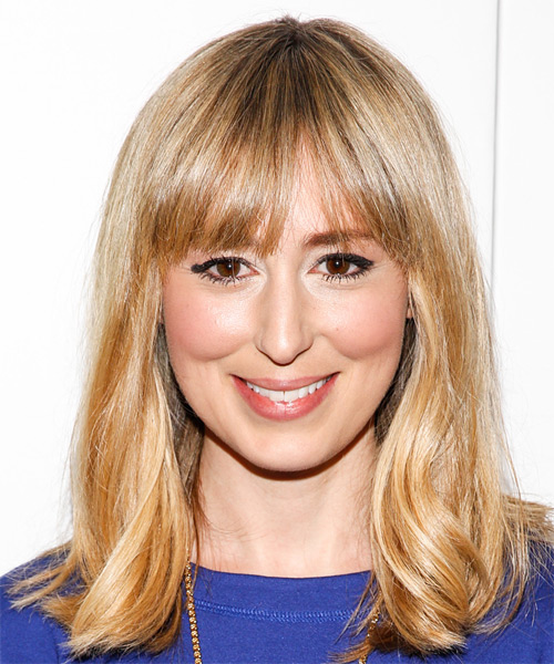 Stephanie Drake Medium Straight Casual   Hairstyle with Blunt Cut Bangs  - Dark Blonde (Honey)