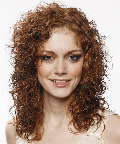 Long Curly Casual    Hairstyle   - Medium Auburn Brunette Hair Color