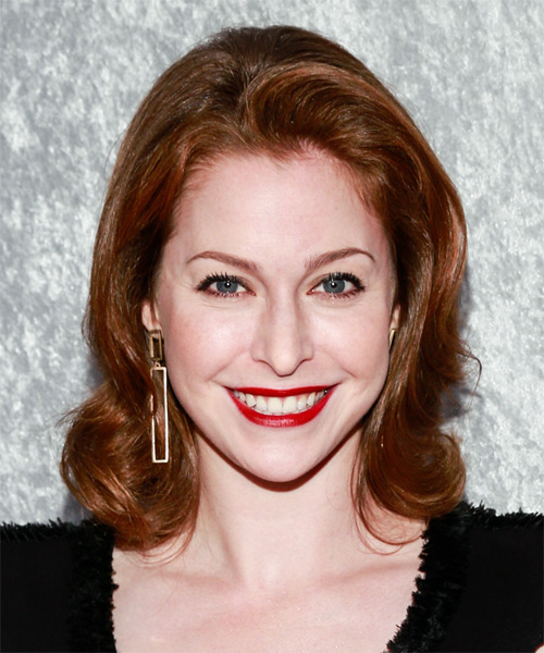 Esme Bianco Medium Straight Formal    Hairstyle   -  Mahogany Red Hair Color