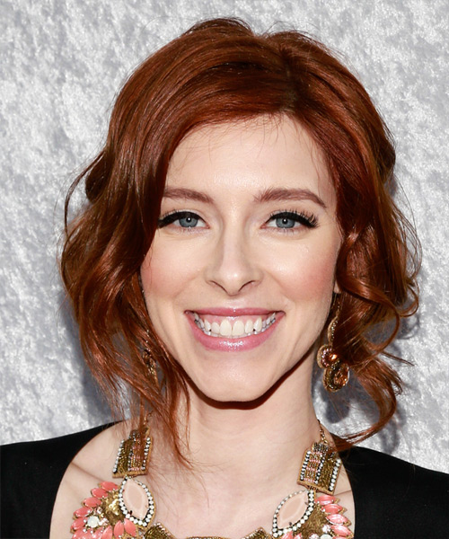 Kate Gorney  Medium Curly Formal   Updo Hairstyle   -  Mahogany Red Hair Color