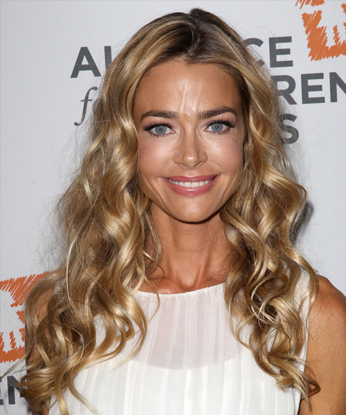 Denise Richards Long Curly Casual    Hairstyle   -  Golden Blonde Hair Color with Light Blonde Highlights