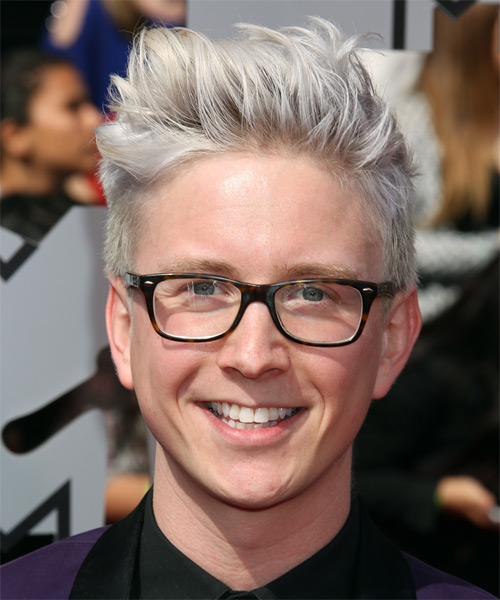 Tyler Oakley Short Straight Light Platinum Blonde Hairstyle