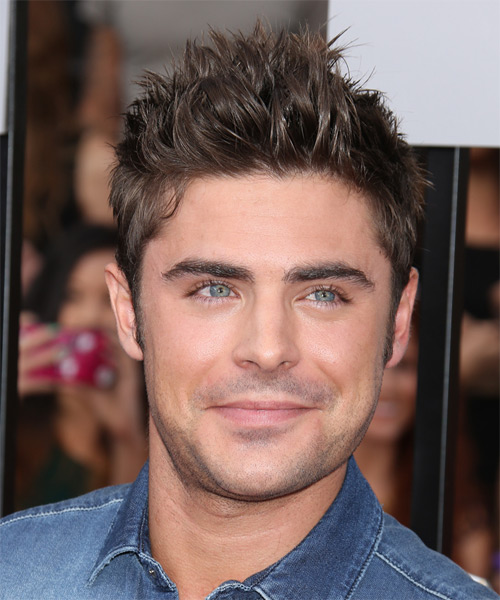 Zac Efron Short Straight Casual    Hairstyle   -  Chocolate Brunette Hair Color