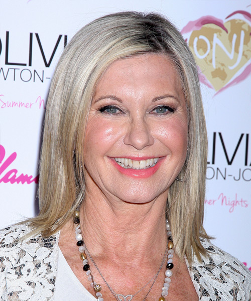 Olivia Newton John Medium Straight Casual    Hairstyle   -  Grey Hair Color