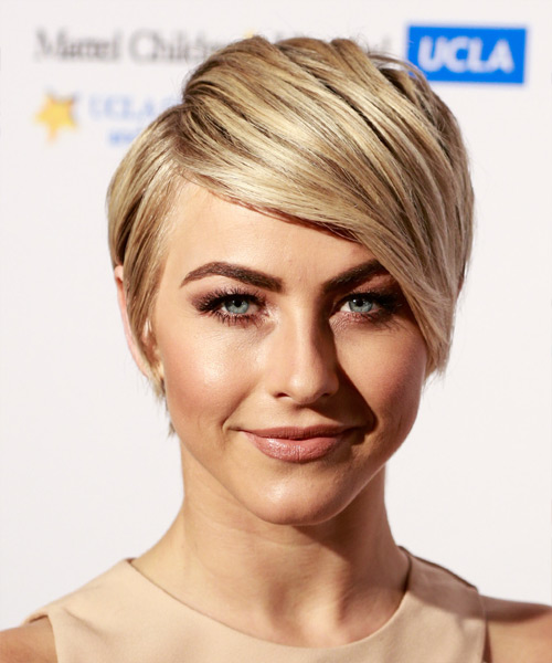 Julianne Hough Short Straight Formal    Hairstyle with Side Swept Bangs  -  Blonde Hair Color with Light Blonde Highlights
