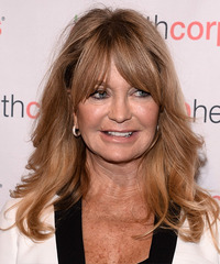 Goldie Hawn Long Straight    Copper Blonde   Hairstyle with Layered Bangs