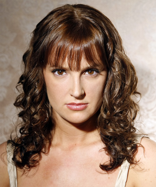 Long Curly Casual    Hairstyle with Blunt Cut Bangs  -  Ash Brunette Hair Color