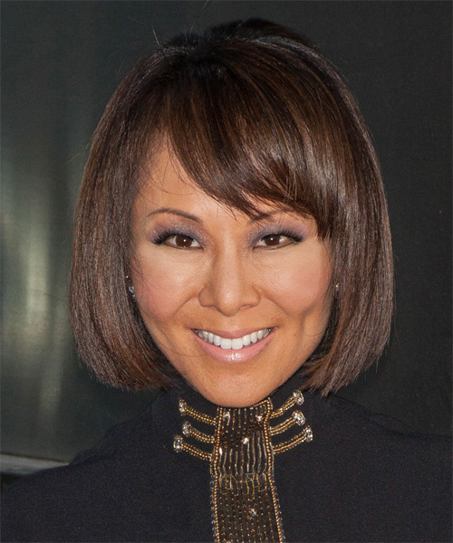 Alina Cho Medium Straight Formal Bob  Hairstyle with Side Swept Bangs  - Medium Brunette (Chocolate)