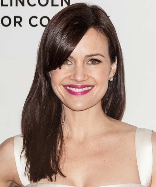 Carla Gugino Long Straight Casual   Hairstyle with Side Swept Bangs  - Dark Brunette (Chocolate)
